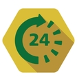 Around The Clock Flat Hexagon Icon with Long vector image