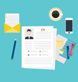 CV resume Job interview concept Writing a resume vector image