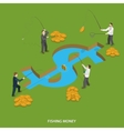 Fishing money flat isometric concept vector image