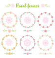 set of hand drawn vintage frame flowers vector image