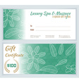 Spa massage gift certificate template vector image