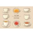 tea cups set vector image
