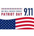 Patriot Day background We Will Never Forget text vector image