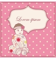Vintage background with banner and baby girl vector image