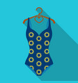 blue swimsuit with sunflowers swimsuit for vector image
