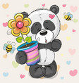 cute cartoon panda with flower vector image