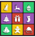 Christmas and New year flat design icon set vector image
