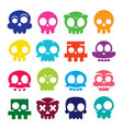halloween cartoon skull icons mexican cute vector image vector image