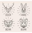 Animals line logo Set Nature Symbol Deer Bear Hare vector image