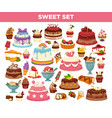 cakes and cupcakes pastry desserts set vector image