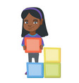 little african girl playing with clourful cubes vector image