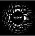Circle frame halftone dots square background vector image