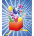 open surprise gift with balloons vector image