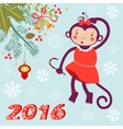 Cute card with cute funny monkey character - vector image
