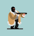 big robber in mask is ready to shoot vector image
