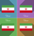Flags Iran Set of colors flat design and long vector image