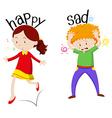 Happy girl and sad boy vector image