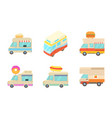 minivan icon set cartoon style vector image