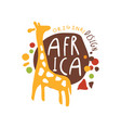 original african logo with cute giraffe vector image