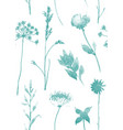 seamless pattern with dry flowers and grass hand vector image vector image