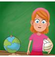 girl student chalkboard sport vector image