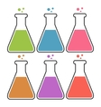 Set of flasks with color liquid vector image