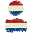 Dutch round and square grunge flags vector image