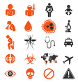 Icon set of Zika virus Infection vector image