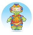 Funny alien wearing space suit vector image vector image