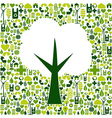 Eco tree symbol with green icons vector image