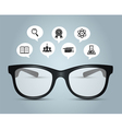 Glasses with education icons vector image