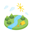Isometric 3d of forest camp vector image