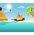 The sudden intrusion of tank on the beach vector image