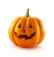 Realistic Halloween pumpkin Happy face vector image