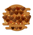 love you chocolate card with hearts letters and vector image