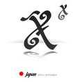 English alphabet in Japanese style - X - vector image
