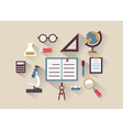 Flat concept of education and knowledge Symbols vector image vector image