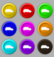 Jeep icon sign symbol on nine round colourful vector image