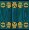 blue wooden texture with eggs vector image