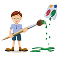 Boy and paintbrush vector image