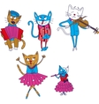 Cartoon multicolored singing cats isolate on vector image