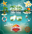 Summer Holiday Icon set on blue sea background vector image