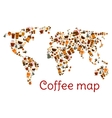 Coffee world map poster with cup and dessert vector image