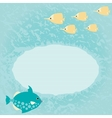 Blue marine card with fish vector image vector image