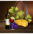 Wine bottle and oak barrel background vector image