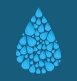 Blue water drop made of many little waterdrops vector image