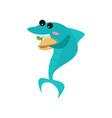 cute shark cartoon character eating burger funny vector image