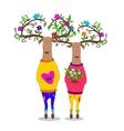 hipster deers falling in love vector image