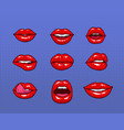 set of different female red lips fashion patches vector image