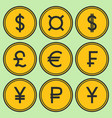 set of golden yellow coin-like icons vector image